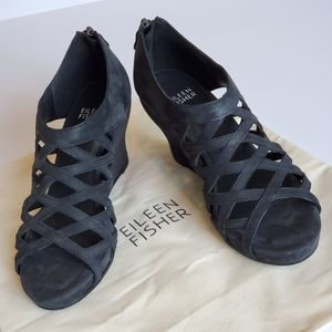 Eileen Fisher Black Suede Cage Wedge